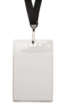 personalausweis: Blank Sicherheit Abzeichen mit Band isoliert auf wei�em Hintergrund.