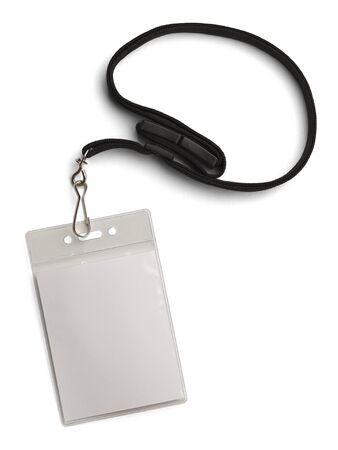 id card: Blank Security Tag with Black Neck Band Isolated on White Background.