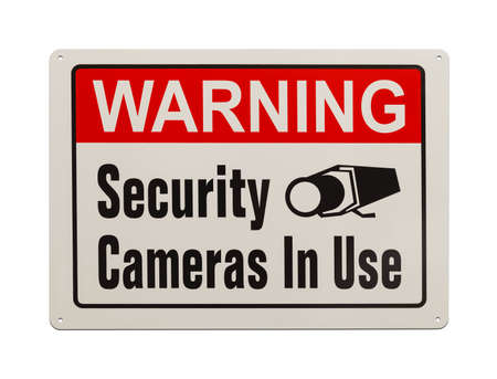 closed society: Red, Black and White, Warning Security Camera Sign Isolated on White Background. Stock Photo