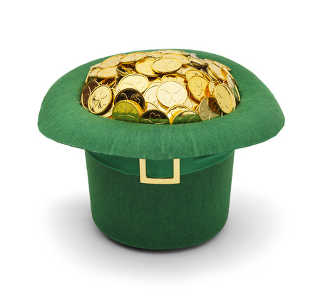 saint pattys: Green Felt Top Hat Upside Down Filled Up with Gold Coins Isolated on White Background.
