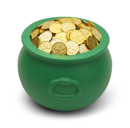 Green Pot of Gold with Clover Coins Isolated on White Background. Stock Photo