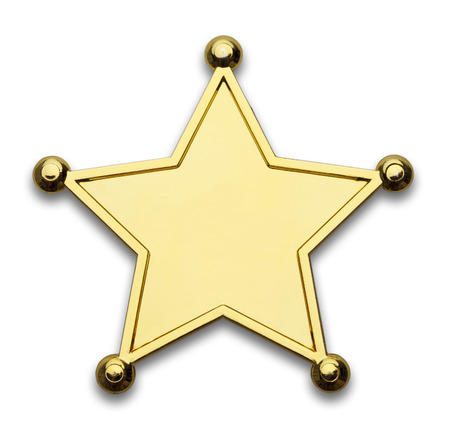five stars: Gold Star Police Badge Isolated on White Background. Stock Photo