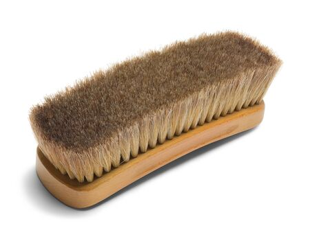 hair brush: Large Brown Horse Hair Shoe Brush Isolated on White Background.