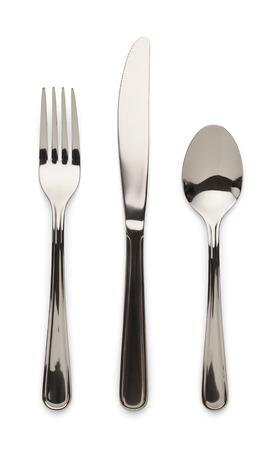 テーブル ウエア ナイフ フォークとスプーンの白い背景で隔離。