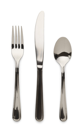medium group of objects: Table Ware Knife Fork and Spoon Isolated on White Background.