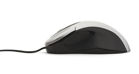 scrollwheel: Side View of Computer Mouse Isolated on White Background. Stock Photo