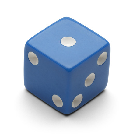 Blue Dice Isolated on White Background. Stock Photo