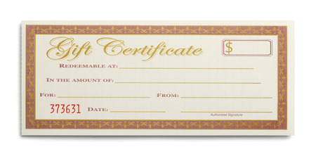 Blank Gift Certificate Isolated on White Background.