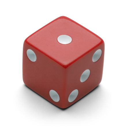Red Dice Isolated on White Background.