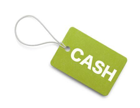 Kleine Groene Cash Tag geïsoleerd op witte achtergrond.
