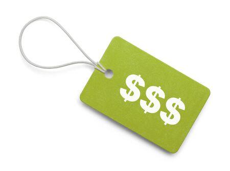 Kleine Hang Markering met Cash symbolen geïsoleerd op een witte achtergrond.