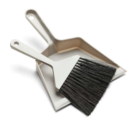 Grey Plastic Broom with Dust Pan Isolated onWhite Background.