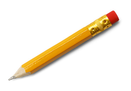 Short Yellow Number 2 Pencil with Red Eraser Isolated on White Background.