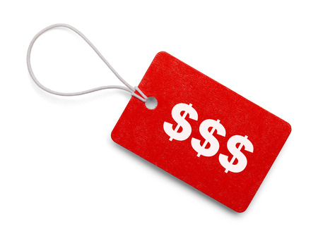 hang tag: Small Hang Tag with Cash Symbols Isolated on White Background.