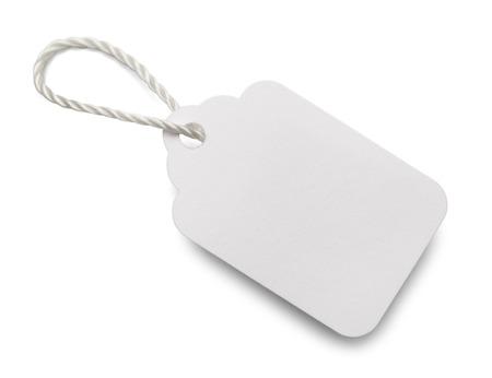 Blanco en blanco Etiqueta de precio aisladas sobre fondo blanco. Foto de archivo