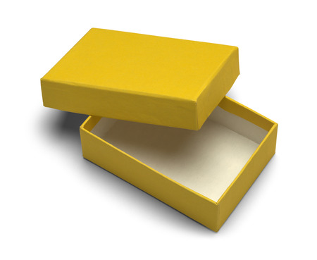 jewlery: Open Yellow Jewlery Box Isolated on White Background. Stock Photo
