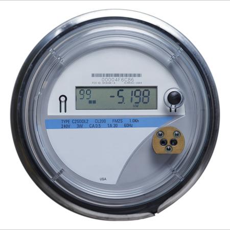 Elektrische Meter vooraanzicht met kopie ruimte geïsoleerd op een witte achtergrond.
