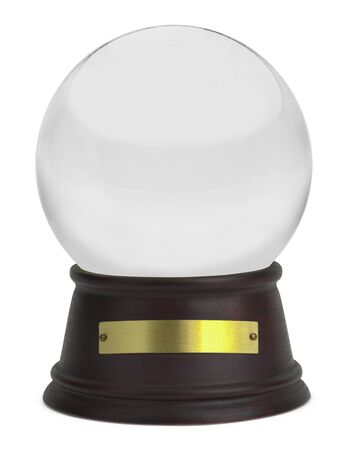 aciculum: Glass Snow Globe with Wood Base and Plate Isolated on White Background. Stock Photo