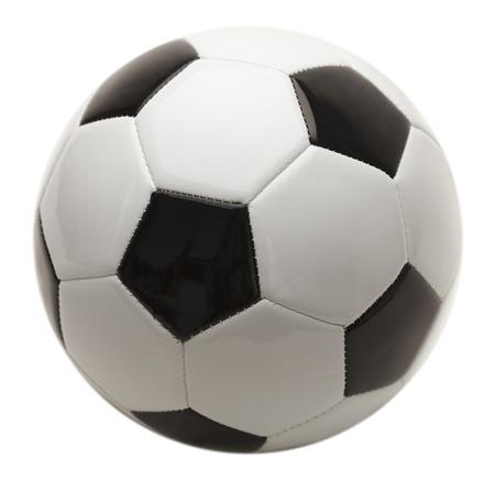 ballon foot: Noir et Blanc Ballon de football isol� sur fond blanc. Banque d'images