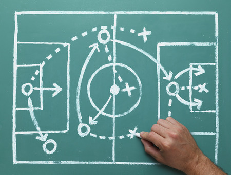 Soccer Play on Chalk Board with Hand Drawing Soccer Field and Plan.