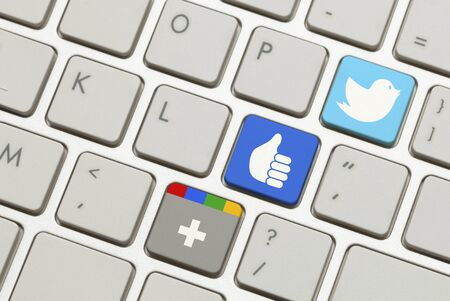 google plus: Keyboard with Popular Social Networking Launch Keys. Editorial