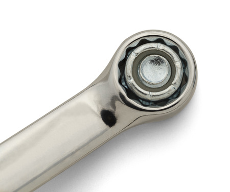 forkwrench: Chrome Socket Wrench and Bolt Isolated on White Background. Stock Photo
