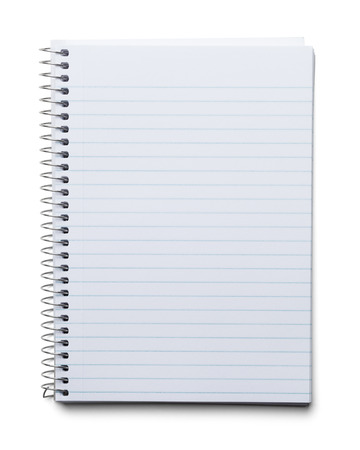 writing on paper: Blank Spiral Notebook with Line Paper Isolated on a White Background.