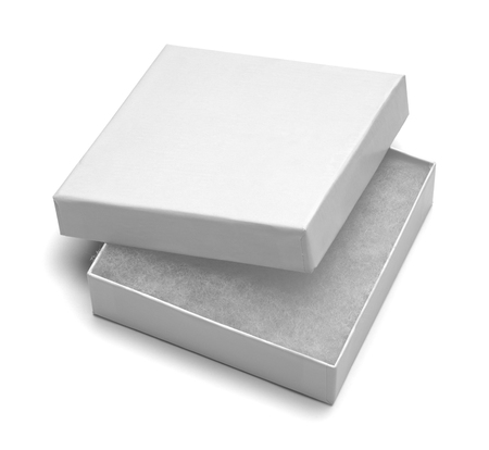 jewlery: Small White Jewlery Box With Stuffing Isolated on White Background. Stock Photo
