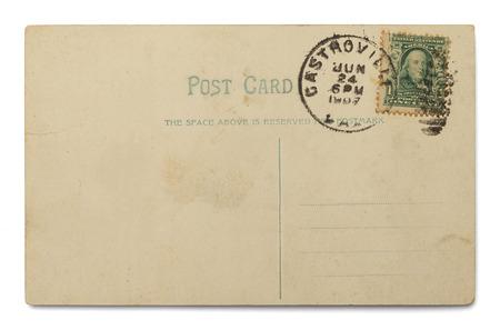 unused: Old Unused Postcard Isolated on White Background. Stock Photo
