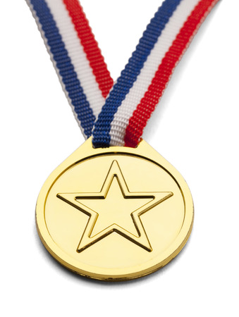 Gold medal with star and ribbon isolated on white background.