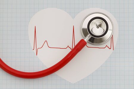 listing: Stethoscope listing to a heart with a pulse.