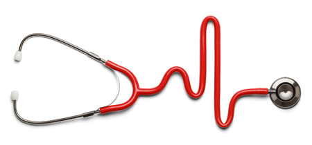 cardiac care: Stethoscope in the shape of a Heart Beat on a EKG.