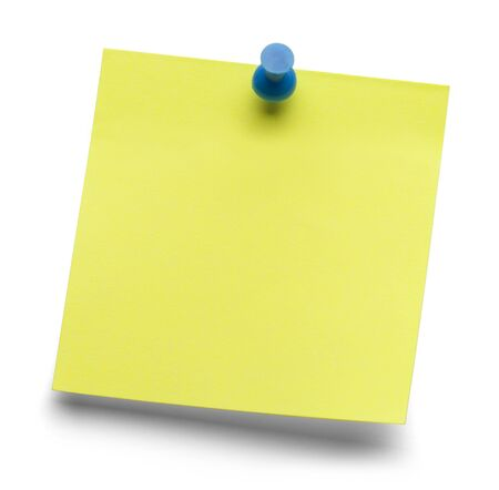 yellow tacks: Blank yellow sticky message isolated on a white background.
