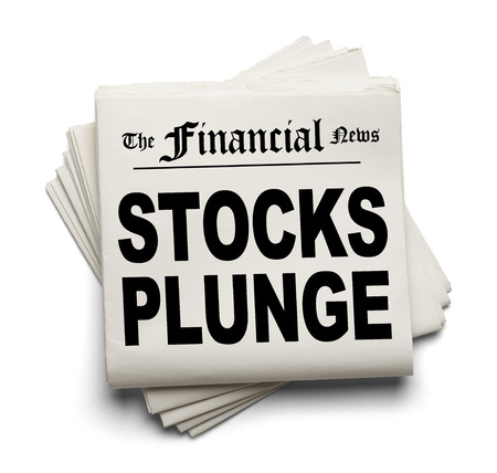 plunge: Financial New Paper with Stocks Plunge Headline Isolated on White Background.