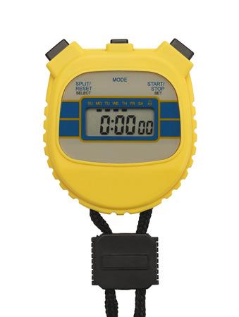 Amarillo Cronómetro de plástico con copyspace aislado en el fondo blanco. Foto de archivo