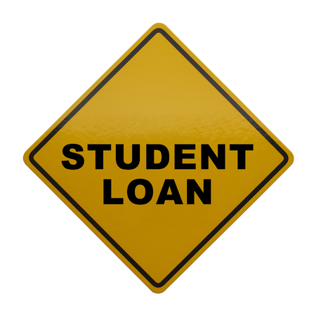 student loan: Yellow sign with Student Loan on it Isolated on White Background.