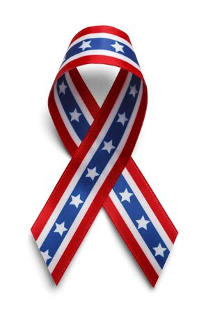 American Support Ribbon, Confederate Support Ribbon Isolated on White Background. photo