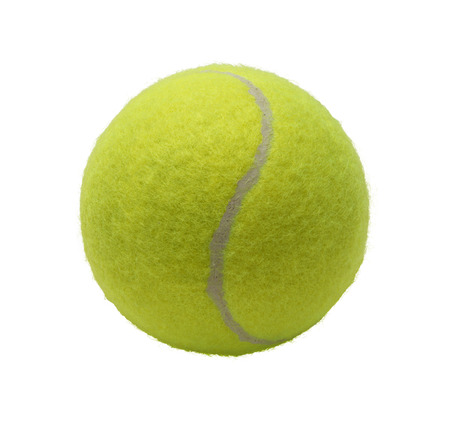 sports equipment: Green Tennis Ball Isolated on White Background. Stock Photo