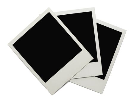 instant film transfer: Blank Polaroids Stacked and Isolated on White Background. Stock Photo