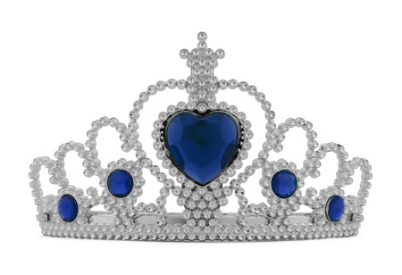 Girls Silver Tiara Crown with Blue Heart Isolated on White Background. Stock Photo