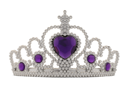 diadem: Girls Silver Tiara Crown with Purple Heart Isolated on White Background.
