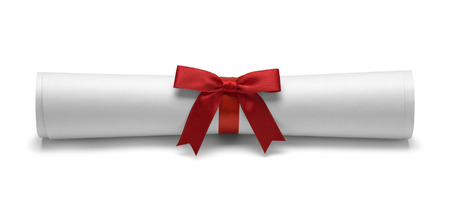 scroll paper: Diploma with Red Tied Bow Ribbon Front View Isolated on White Background. Stock Photo