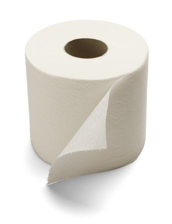 papel de baño: Papel higiénico suave aislado en un fondo blanco.