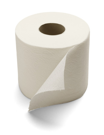public toilet: Soft Toilet Paper Isolated on a white background. Stock Photo