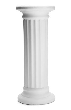 doric: Tall Doric Column Pillar Isolated on White Background. Stock Photo