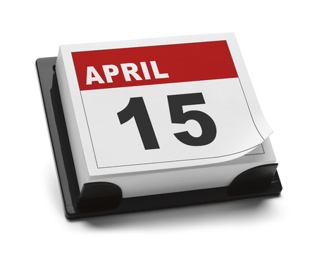Calendar with April 15th Isolated on White Background. Stock Photo