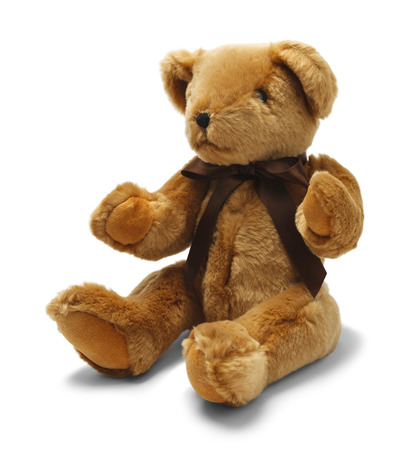 toy bear: Brown Toy Teddy Bear with Ribbon Isolated on White Background.