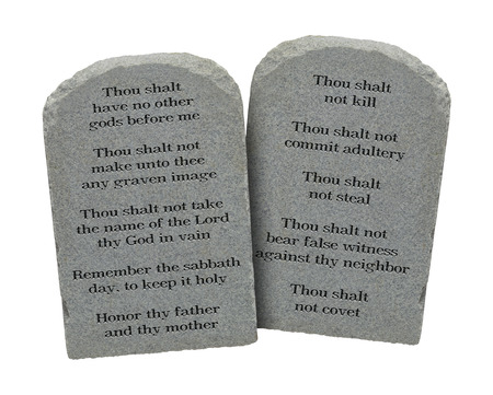 bible ten commandments: Moses Ten Commandments Stones Isolated on White Background.