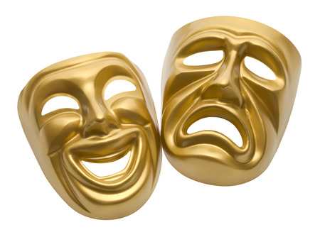 comedy and tragedy: Gold Movie Masks Isolated on White Background. Stock Photo