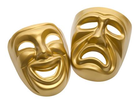 teatro mascara: Máscaras Película oro aislados sobre fondo blanco.